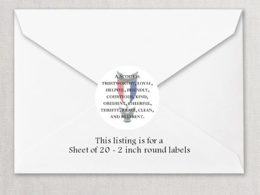 """Eagle Scout 3 2"""" Rounded Envelope Seals"""