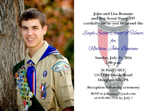 Matt The Scout Boy Credits Version 2: Simple Honors (Photo) Eagle Scout Invitation