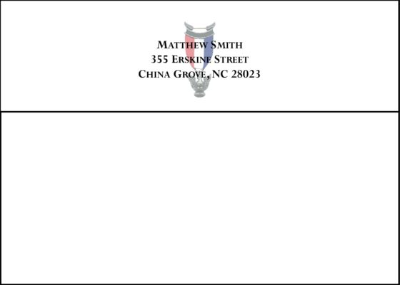 #3 Return Address Printed on Back Flap of Outside Envelopes
