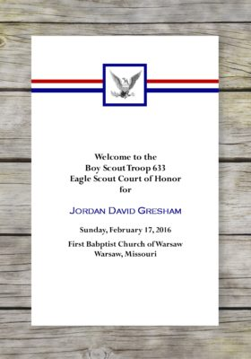 Honored Eagle Scout Court of Honor Program