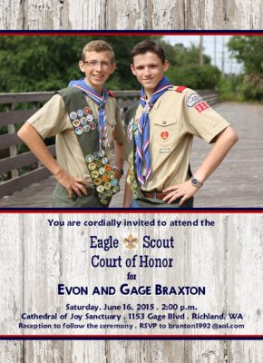 Wooden Rustic Scout-Eagle Scout Invitation