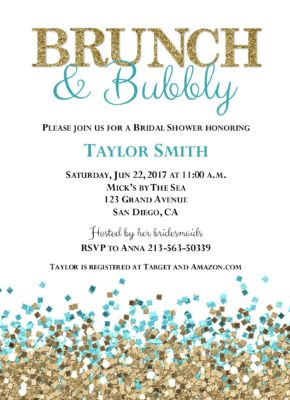Glitter Shower (Blue/Gold) Wedding Shower Invitation