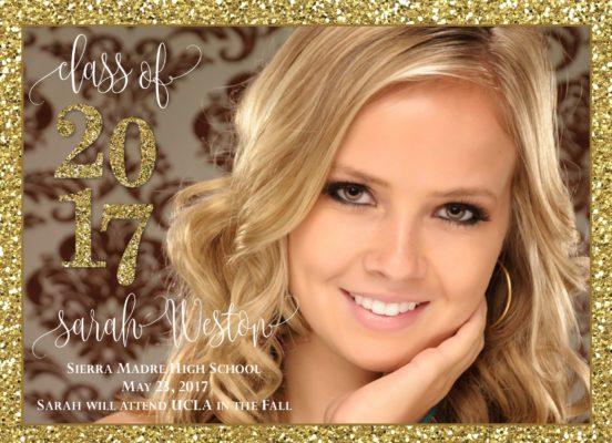 Gold Glitter Celebration Graduation Announcement