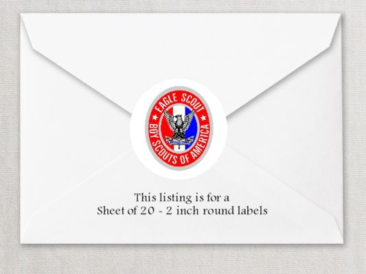 "Eagle Scout 2 2"" Rounded Envelope Seals"
