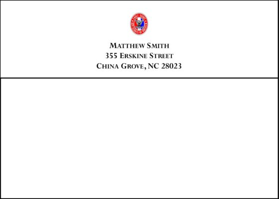 #2 Return Address Printed on Back Flap of Outside Envelopes
