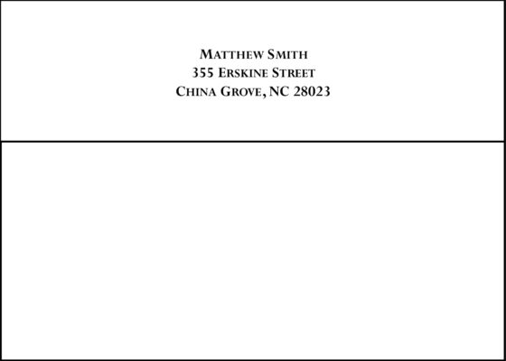 #6 Return Address Printed on Back Flap of Outside Envelopes
