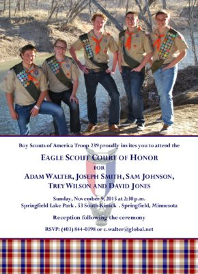 Memories White 3 Eagle Scout Invitation
