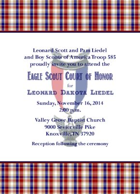 Memories White 1 Eagle Scout Invitation