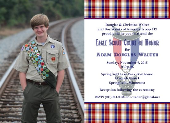 Memories White 2 Eagle Scout Invitation