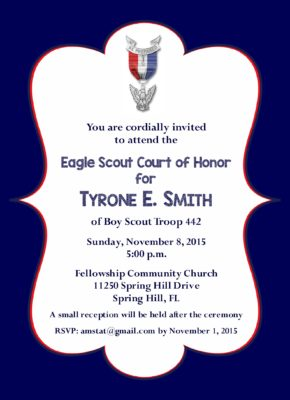 Navy Simple Eagle Scout Invitation