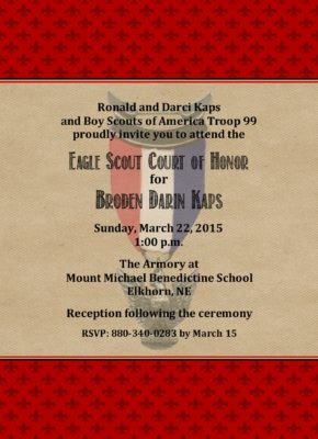 Thrifty Eagle Scout Invitation
