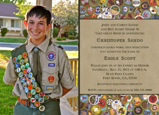 Virtues Photo Eagle Scout Invitation