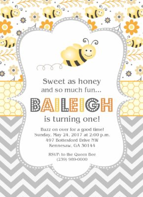 Bumble Bee Party Birthday Invitation