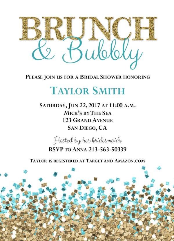 Glitter Shower (Blue/Gold) Wedding Shower Invitation