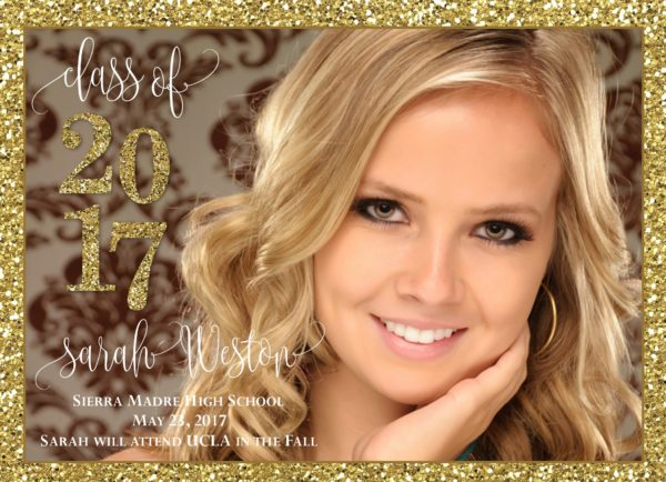 Gold Glitter Celebration Graduation Announcement