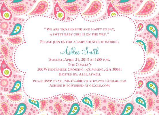 Product categories baby shower paisley baby teal and pink baby shower invitation filmwisefo