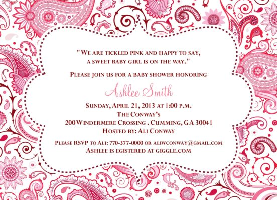 Product categories baby shower paisley baby pink and burgundy baby shower invitation filmwisefo