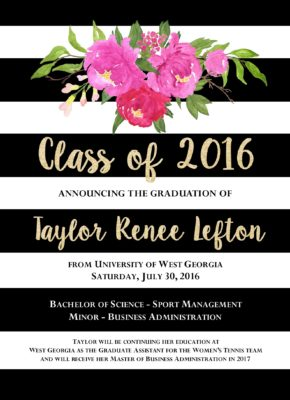 Celebration Floral Graduation Announcement