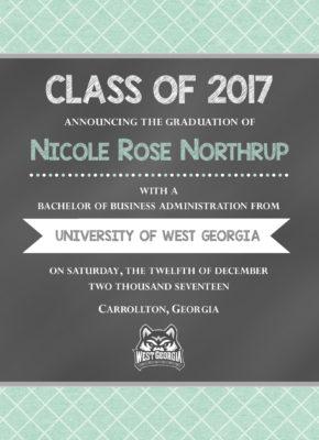 Chalkboard (Mint Checks) Graduation Announcement