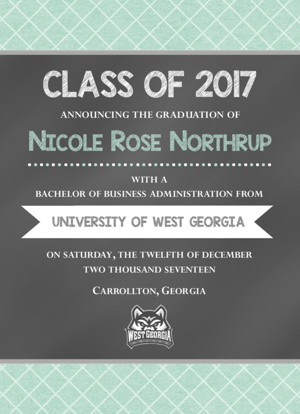 Chalkboard (Mint Checks) Graduation Announcement