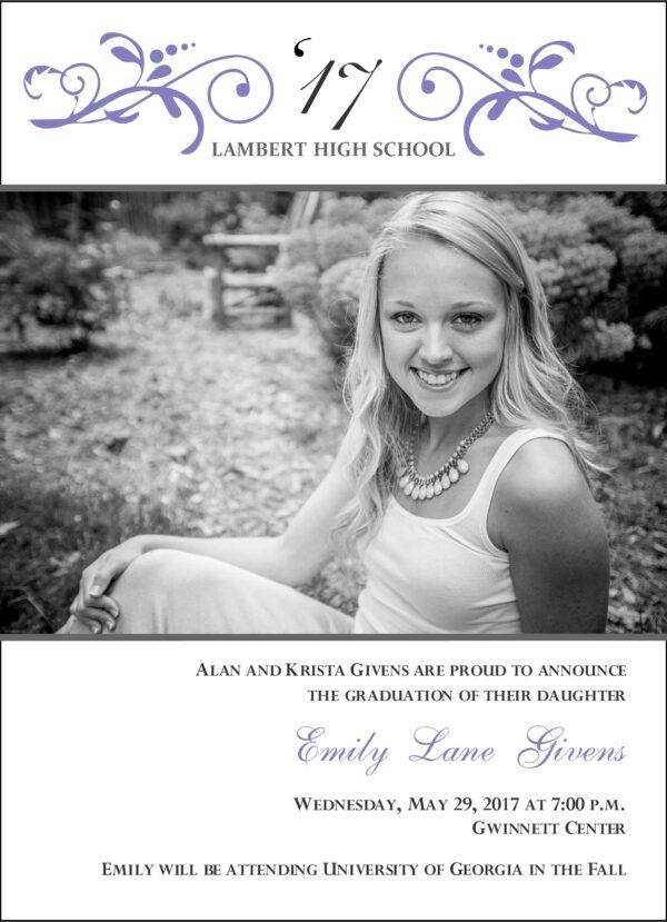 Floral Swirl Grad (Lavender) Graduation Announcement