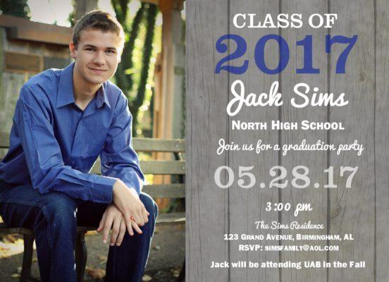Rustic Grad (Blue) Graduation Announcement