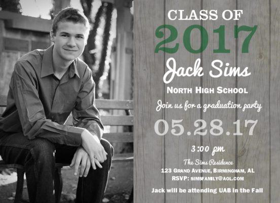 Rustic Grad (Green) Graduation Announcement