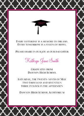 Simple Honors Quatrafoil Graduation Announcement