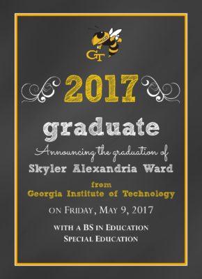 Chalkboard Grad (Gold) Graduation Announcement