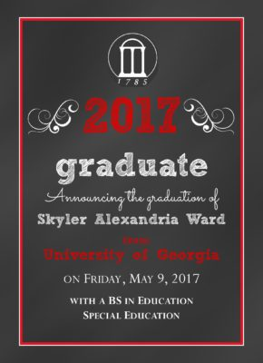 Chalkboard Grad (Red) Graduation Announcement