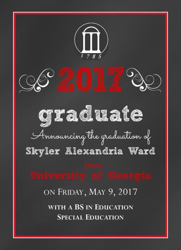 Chalkboard Grad (Red) Graduation Announcement