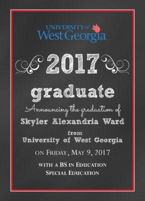 Chalkboard Grad (Red/Blue) Graduation Announcement