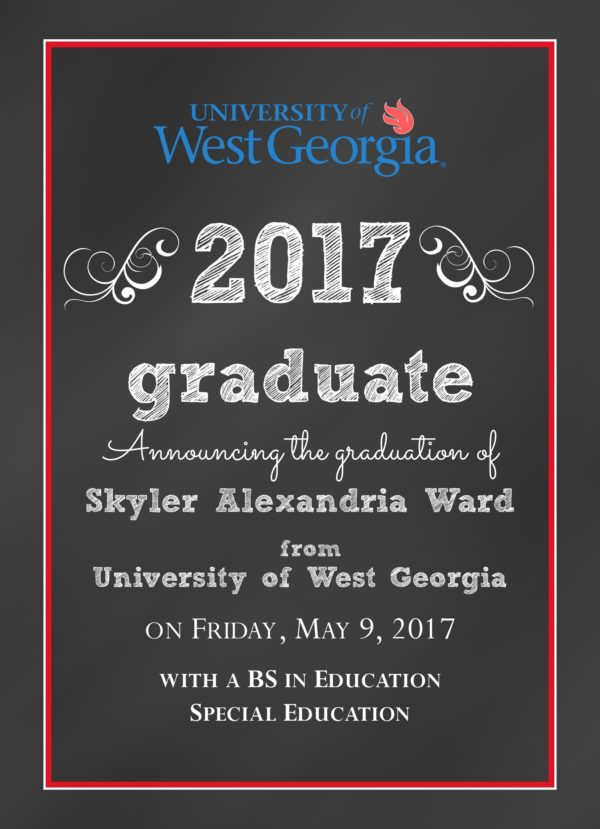 Chalkboard Grad (Red/Blue) Graduation Announcement