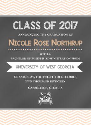 Chalkboard (Peach Chevron) Graduation Announcement