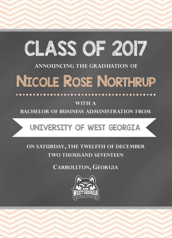 Chalkboard (Peach Chevron) Graduation Announcement