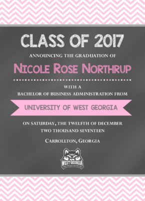 Chalkboard (Pink Chevron) Graduation Announcement