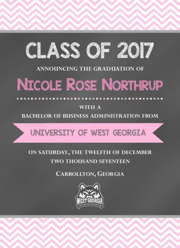 Chalkboard (Pink Chevron) Graduation Announcement