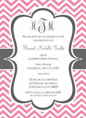 Chevron Grad (Pink/Grey) Graduation Announcement
