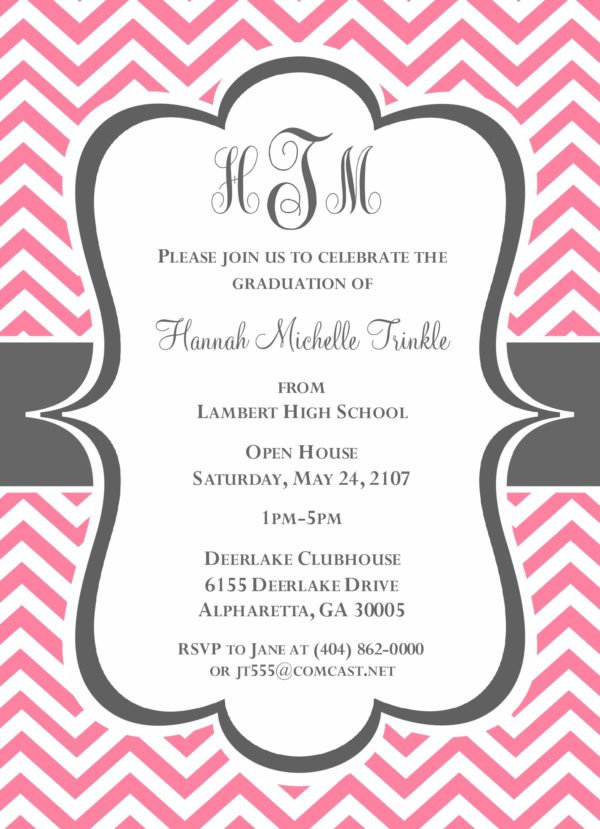 Chevron Grad (Pink/Grey) Graduation Announcement