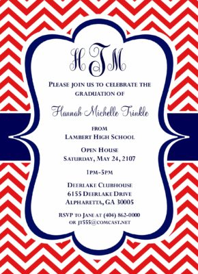 Chevron Grad (Red/Blue) Graduation Announcement