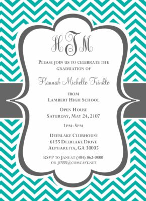 Chevron Grad (Tiffany Blue) Graduation Announcement