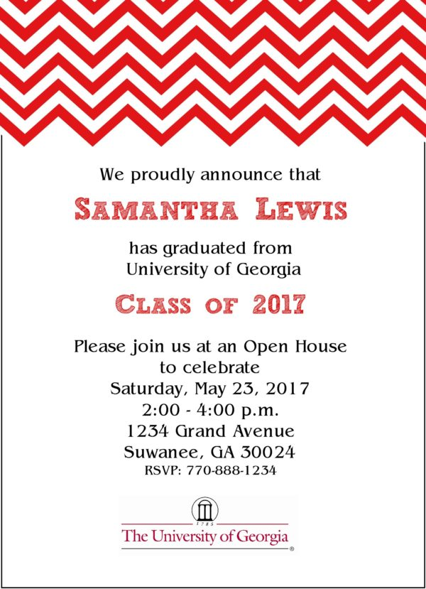 Chevron Sophisticate (Red) Graduation Announcement