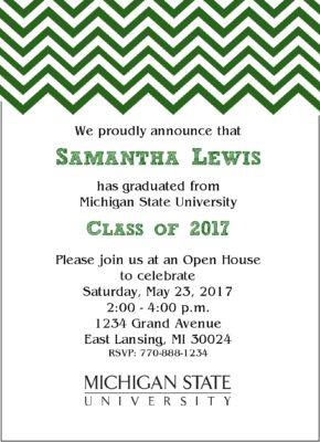 Chevron Sophisticate (Green) Graduation Announcement