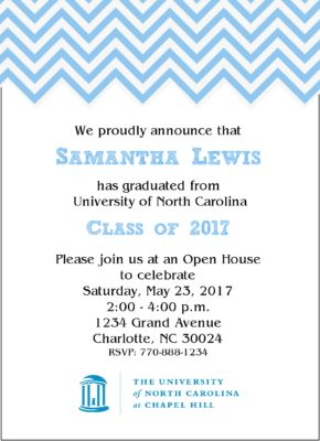Chevron Sophisticate (Light Blue) Graduation Announcement