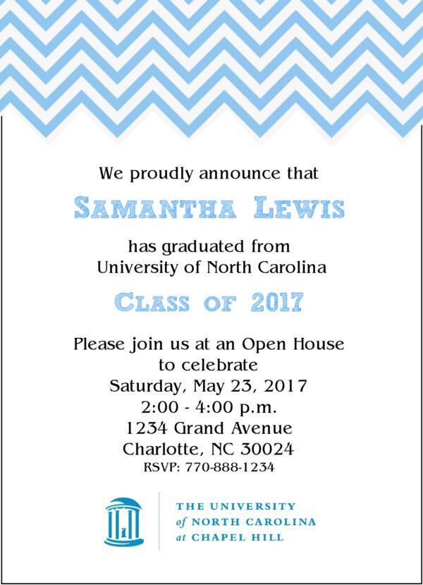 Chevron Sophisticate (Light Blue) Graduation Announcement