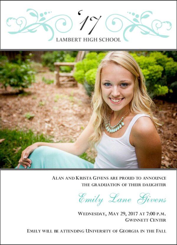 Floral Swirl Grad (Tiffany Blue) Graduation Announcement