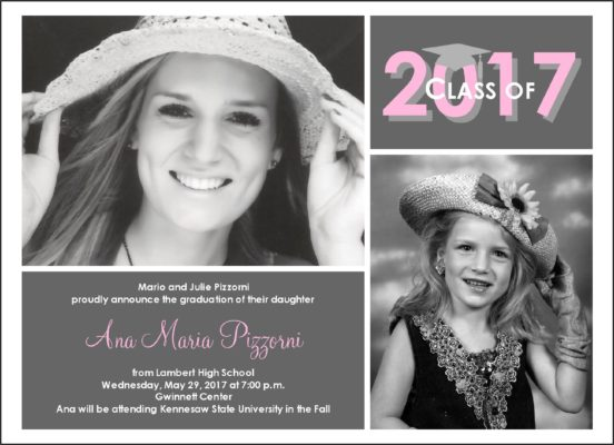 Now and Then Grad (Pink) Graduation Announcement