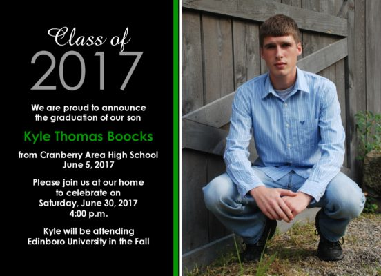 Proud (Green) Graduation Announcement