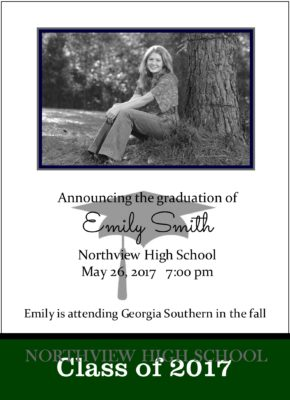Shoot for the Stars (Green) Graduation Announcement