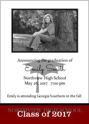 Shoot for the Stars (Red) Graduation Announcement